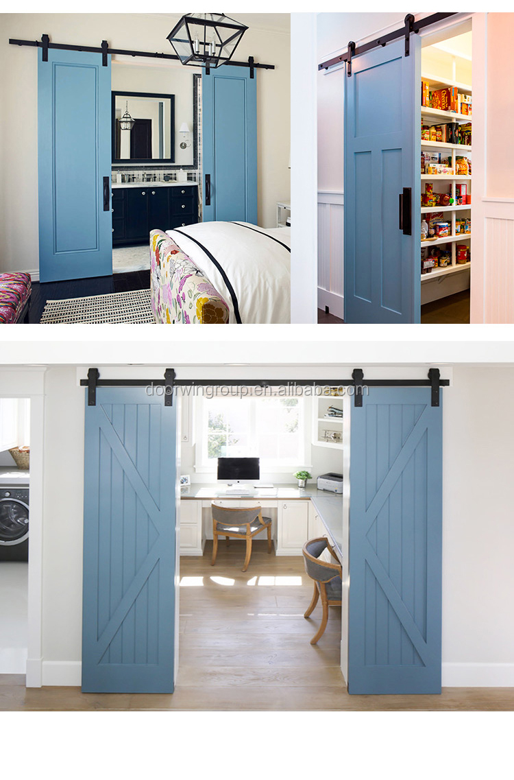 K Style Double Timber Slab Interior Barn Door Solid Larch Pine Wood ...