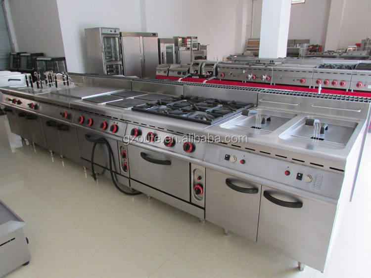 Commercial Gas Range With 4 Burners Flat Griddle And Oven Cabinet Cooktop