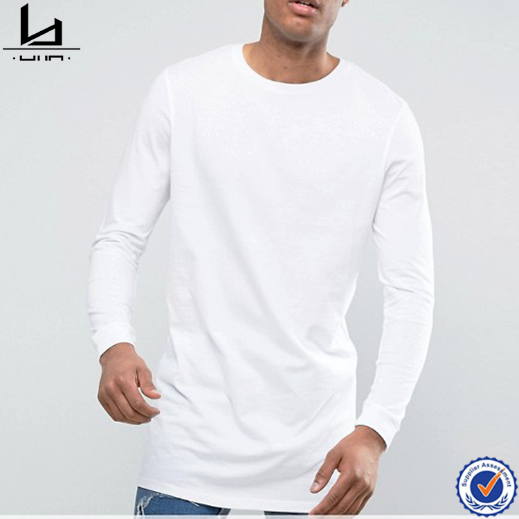 Men fashion 2017 clothing plain solid white and black tall tee