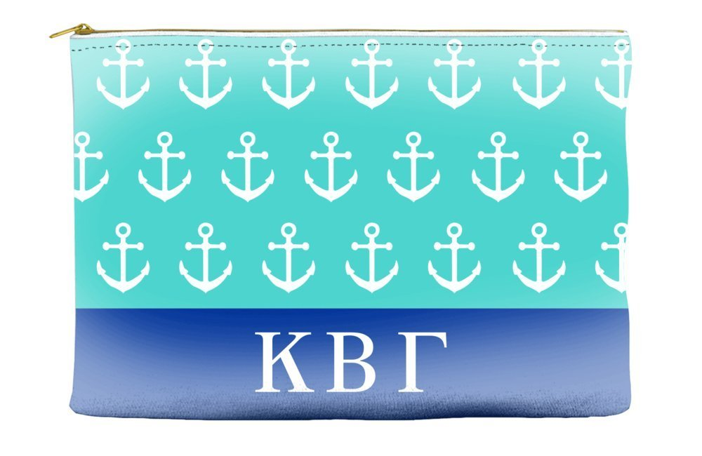 Kappa Beta Gamma Anchors Teal Cosmetic Accessory Pouch Bag for Makeup Jewelry & other Essentials