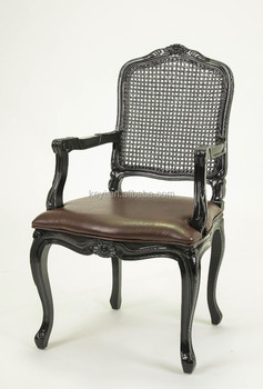 Dining Room Rattan Back Wooden Armchair Leather Arm ChairCH 705
