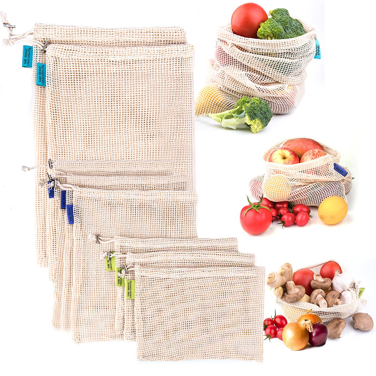 Logo Custom Tag Customize Reusable Produce Cotton Mesh Bag Set of 8/9/12 Pack Durable Pure Cotton Eco Friendly Mesh Muslin Bags