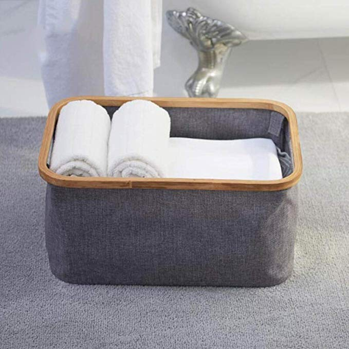 Wholesale bamboo wooden large laundry basket collapsible