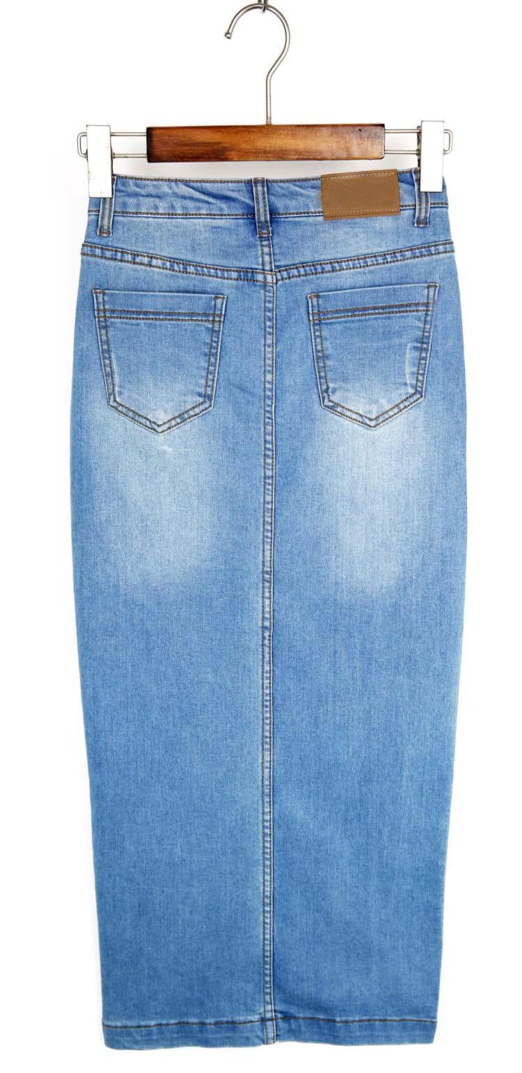 2018 designer women style fashion blue long denim jean material