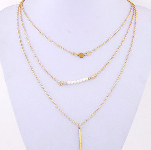 Golden Tone Multi Layered Pendent Necklace with Bar and Beads