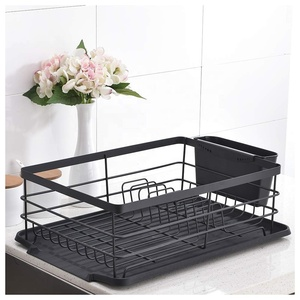 Kitchen Restaurant Countertop Metal Wire Dish Bowl Drying Plate Rack Cup Holder Corner