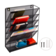 Office stationery 5 tier metal wire iron mesh mounted file paper document wall hanging organizer