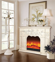 Elegant Faux Stone Mantelpiece Wooden Electric Fireplace, Elaborate Design Insert Electric Fireplace