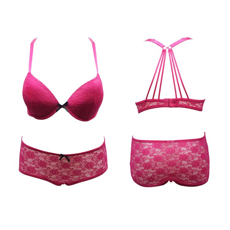 e7c87f4189 Fashion Underwire Back Strappy Bra Lace Net Sexy Lace Push Up Bra and Brief  Set