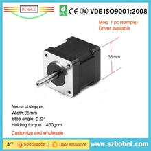 Factory supply precision 0.9Degree 35mm width NEMA size 14 enhanced torque stepper motor with best price