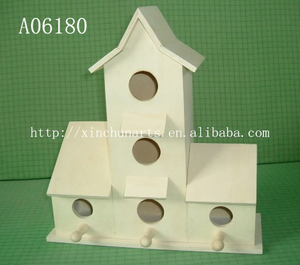 Personality parrot Can be hung real wood the bird's nest Double orifice cage customization