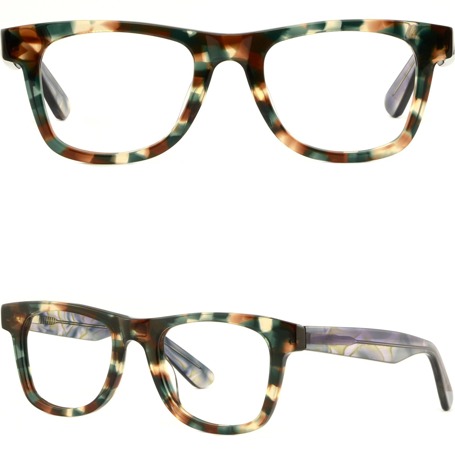a025f617255 Get Quotations · Thick Strong Womens Frames Large Wide Acetate Prescription  Glasses Spring Hinges