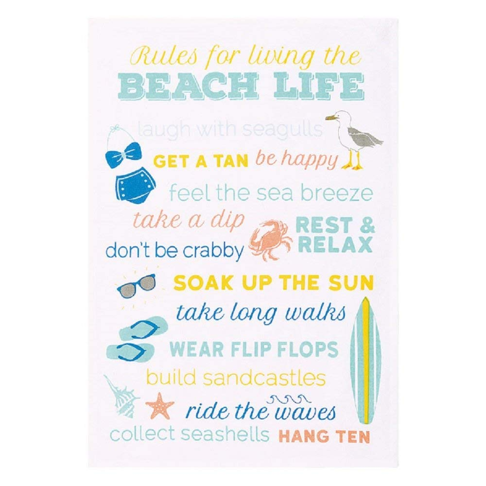 Peking Handicraft 04HRS873WC Rules for Living The Beach Life Kitchen Hand Towel