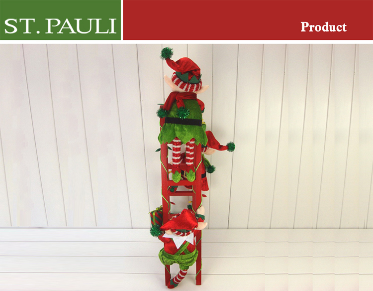 Home Wood Ladder Decoration 26 Inch Christmas Plush Elf ...