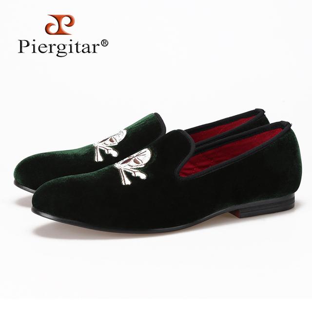 zapatos mocasines roja fabricante hombres Zapatillas Cráneo bordado suela de de terciopelo 5T4CTSwqx