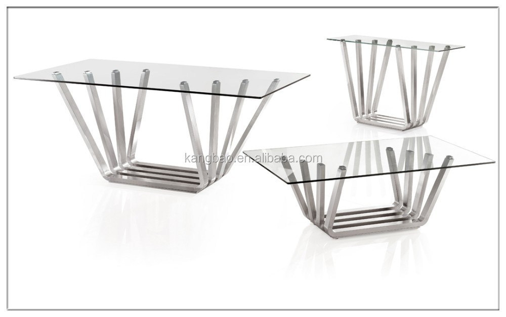 2016 Kangbao De Cristal Muebles/acero Inoxidable Mesas De Comedor - Buy  Tapa De Cristal Marco De Acero Inoxidable Mesa De Comedor Product on ...