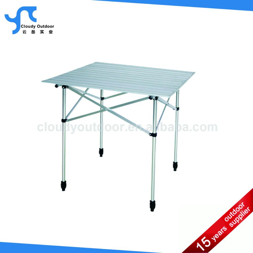 Roll Up Top Adjustable Small Folding Aluminum Slat Table Buy