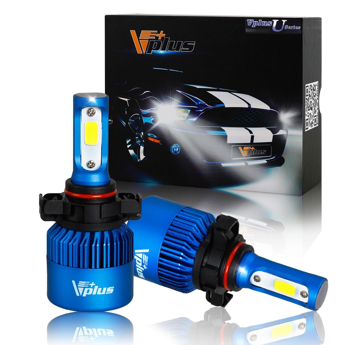 Vplus U Series LED Headlight Bulbs- 5202 12086 PS24W 80W 8,000LM 6500K White COB w/ Fan LED Headlamp Conversion Replace HID & Halogen- (2pcs/set)
