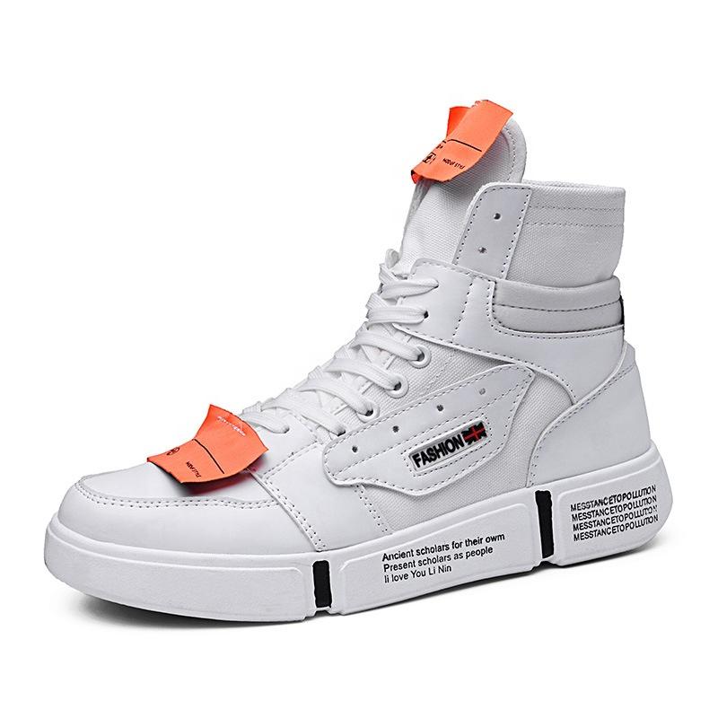 Il Marchio su misura Degli Uomini di Alta Top Scarpe Casual Pianura Bianco scarpe Da Ginnastica Da Skate