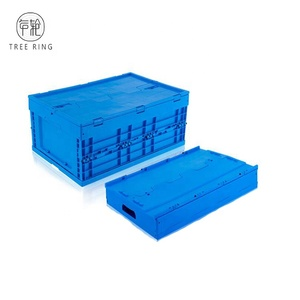 New PP Material Customized Attached Lids Folding Collapsible Stackable Plastic Crate For Transport Fruit