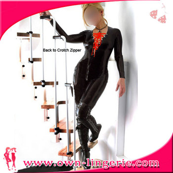 Wholesale cheap price women catsuit black lingerie catsuit pvc costume with red lace up front
