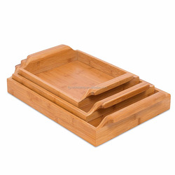 High Quality Set of 3 Bamboo Nesting Breakfast Bed Serving Trays Set Handles