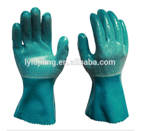 LUJIANG China safety gloves Long arm protection smooth finish gloves pvc