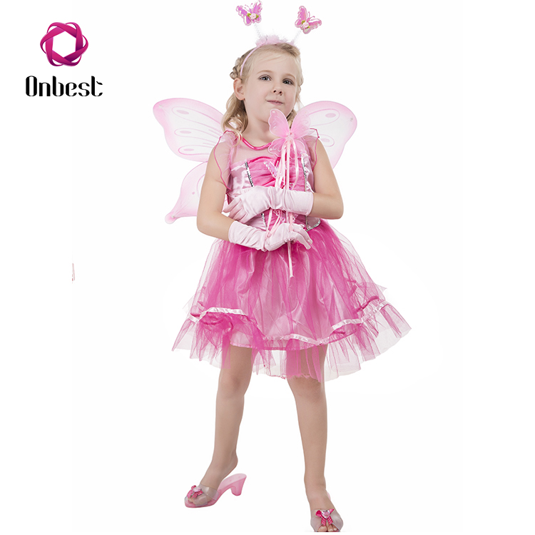 Hot Sale Pink Party Halloween Girls Butterfly Fairy Suits Fancy Dress Costume With Butterfly Wings Wand