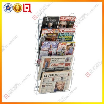 Hot 5 Layers Wire Wall Mounted Newspaper Racks Brochure Holder Floor Stand Magazine Rack Product On Alibaba