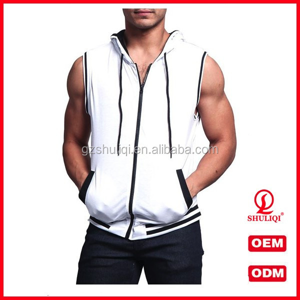 Design your own logo pullover hoodies /plain sleeveless hoodies for men H-1797