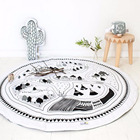 2017 Cartoon Designs Round Cotton Baby Play Mat Crawling Pads Indoor Activity Mat