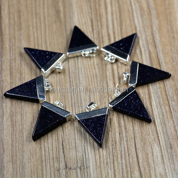 LS-D1876 IN Stock !Blue Sand pendants with silver plated triangle