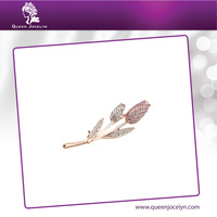 2016 New Design Tulip Flower Brooch Pin with Rose Gold Plated and Crystal