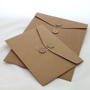 Custom size A4 A5 A6 thick paper kraft gift brown envelope with string