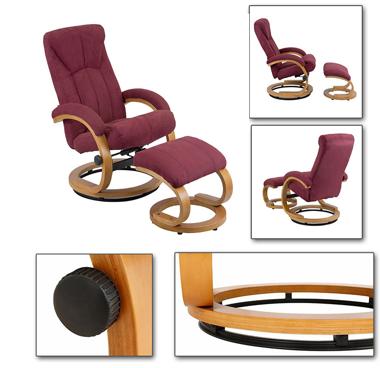 Hot selling China wholesale swivel recliner chair with ottoman, fabric armchair with footstool