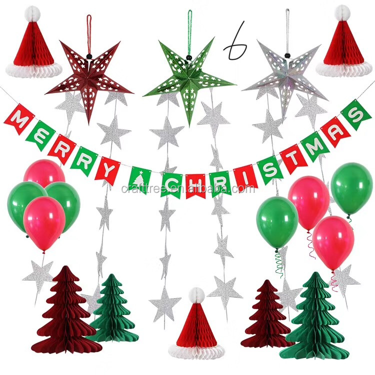 wholesale Merry Christmas Party Decorations colorful Paper Fans Banner Decoration Kit