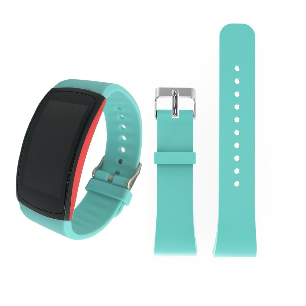For Samsung Gear Fit2 /Fit2 Pro Bands, Soft Silicone Sport Bracelet Replacement Band Strap for Samsung Gear Fit2 SM-R360 /Fit 2 Pro SM-R365 Smart Fitness Band (Green, Small)