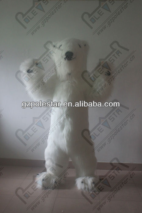 white long fur polar bear mascot costumes for party