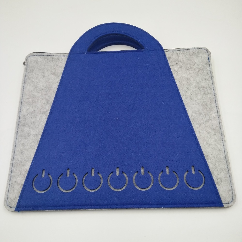 Blue single-layer laptop computer bag with customer logo