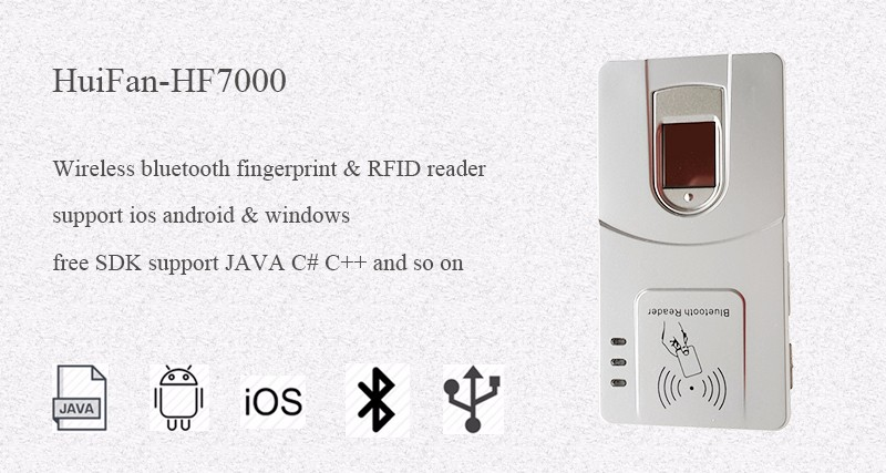 FBI CE Certificated HF7000 NFC/IC 13.56Mhz Card Bluetooth iOS Portable Programmable Fingerprint Reader