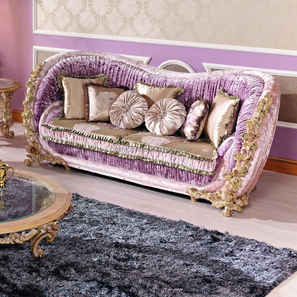 Italian luxury living room furniture classic rose wooden carving double seats sofa new design