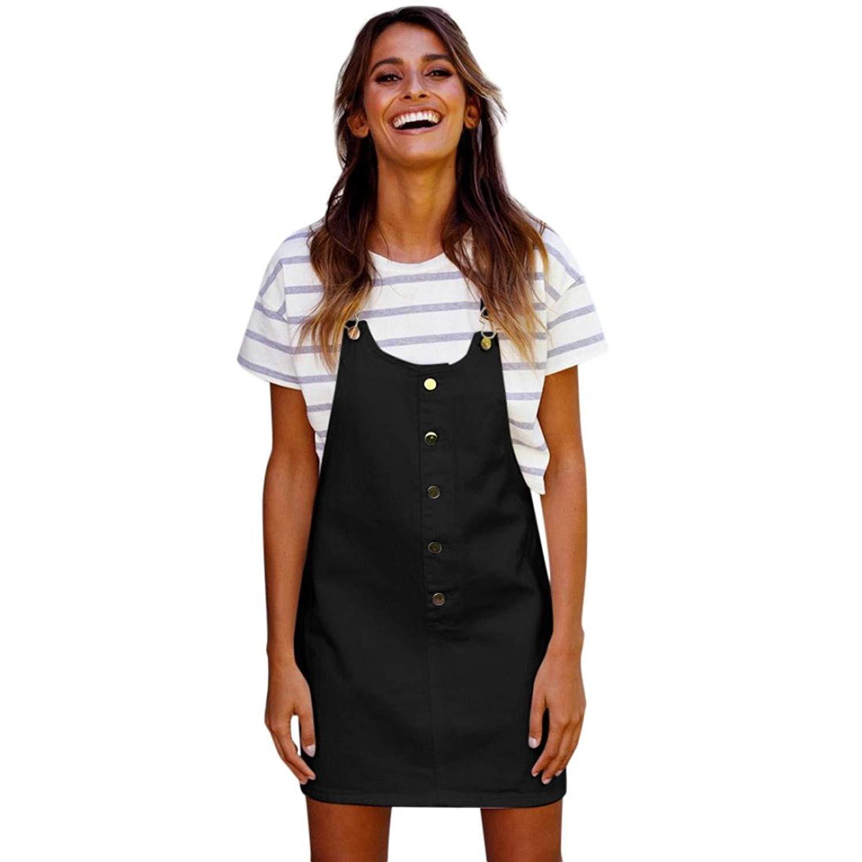 26d559c44b Get Quotations · Minisoya Women Girls Button Straps Dress Overalls  Suspenders Dress Casual Sleeveless Mini Dress Beach Sundress