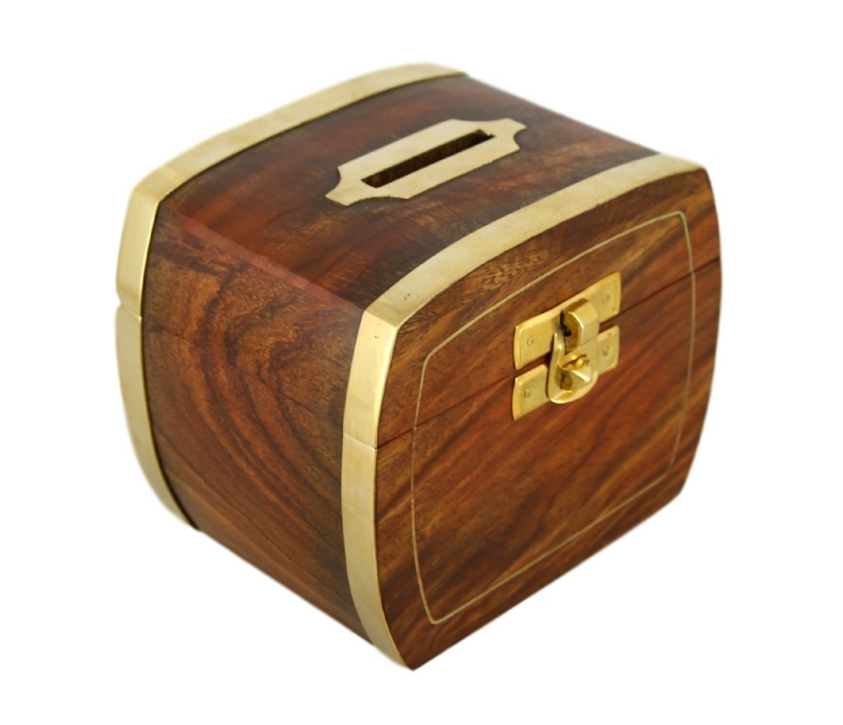 ShalinIndia Wood and Brass Money Coin Bank - 3 x 4 x 3.5 Inch Piggy Bank for Adults & Kids - Artisan Crafted in India
