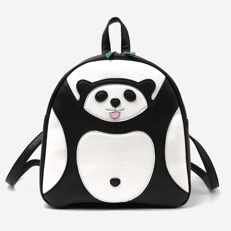 80ef0d1b142f Get Quotations · Korean Cute Panda character black Leather backpack women  school backpacks for teenger girls kd minion printing