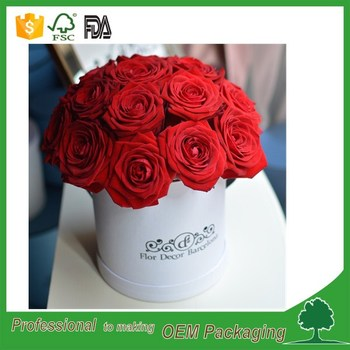 fashionable design round flower boxes cardboard high end quality gift packaging flower box made in China