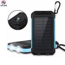 Solar Power Bank Dual USB Power Bank 20000 mAh PowerBank 배터리 External 휴대용 Solar Panel 와 LED 빛