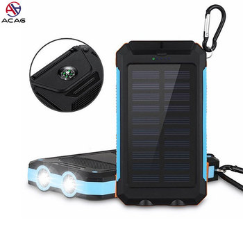 Solar Power Bank Dual USB Power Bank 20000 mAh PowerBank Battery External Portable Solar Panel with LED Light