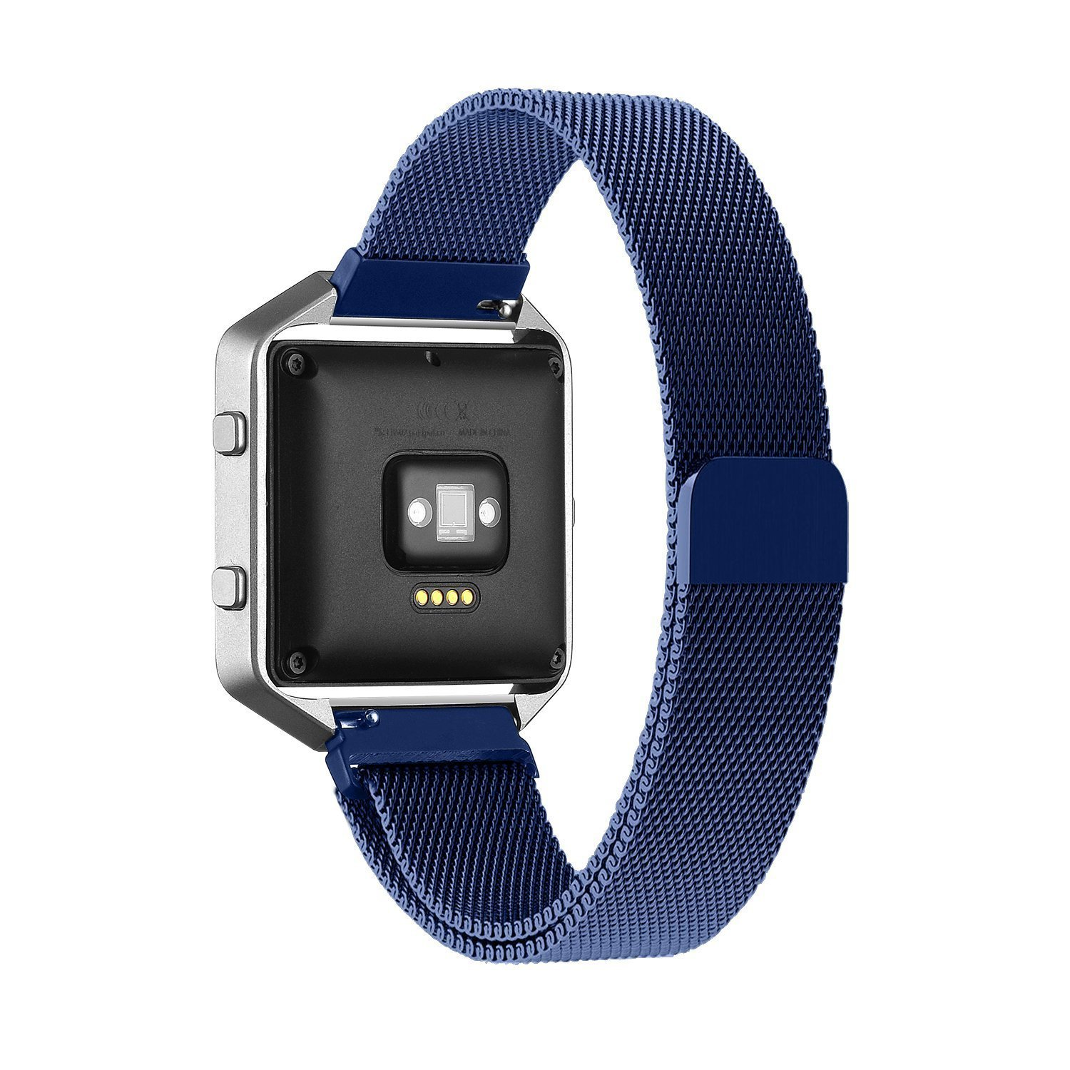 Fitbit Blaze Accessory Band, Large(6.3-9.1 in),Oitom Milanese loop stailess steel Bracelet Strap for Fitbit Blaze Smart Fitness Watch, Black, Silver, Large with unique Magnet lock (Blue)