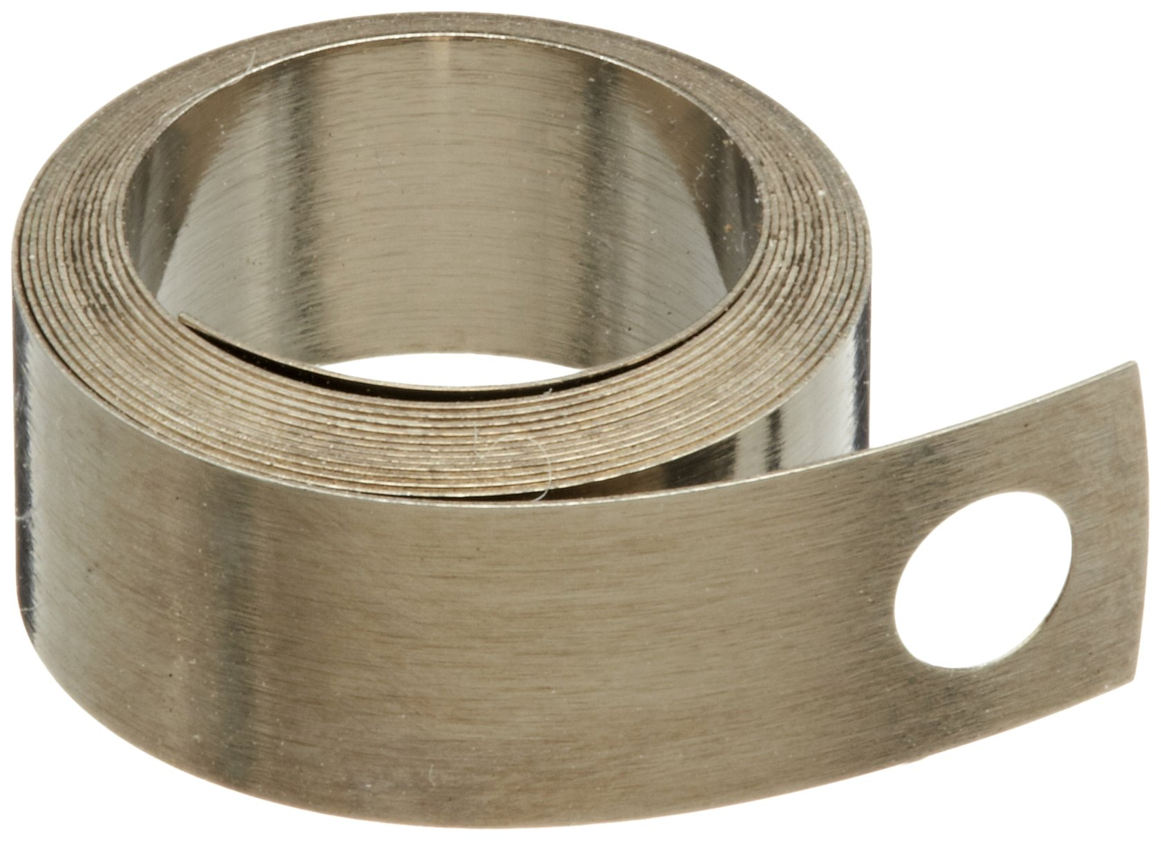 "Constant Force Spring, 301 Stainless Steel, Inch, 2500 Cycle Life, 30"" Extended Length, 0.5"" Width, 0.59"" ID, 0.7"" OD, 0.19"" End Hole Diameter, 2.63lbs/in Load Capacity (Pack of 5)"
