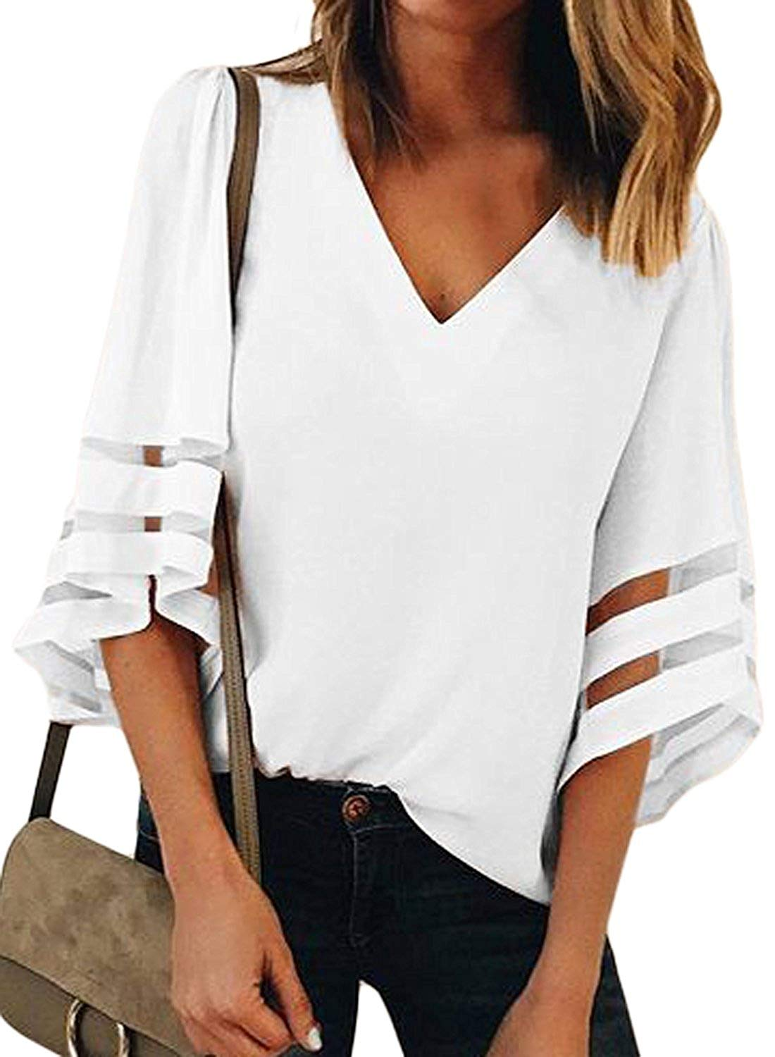 Charlotte Womens 3/4 Bell Sleeve V Neck Lace Patchwork Blouse Casual Loose Shirt Tops Flare Sleeve Tops Bouse